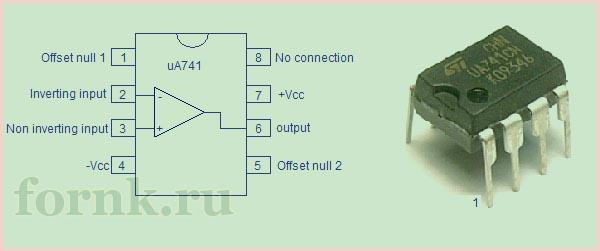 операционный усилитель uA741 - выводы