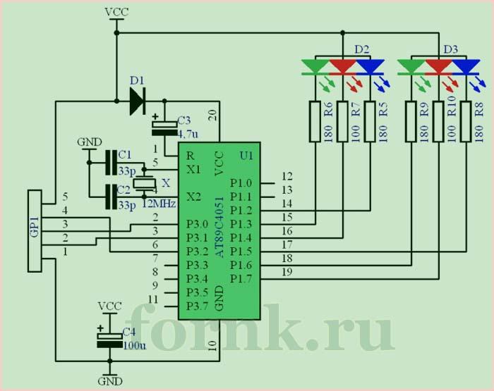 Схема RGB контроллера