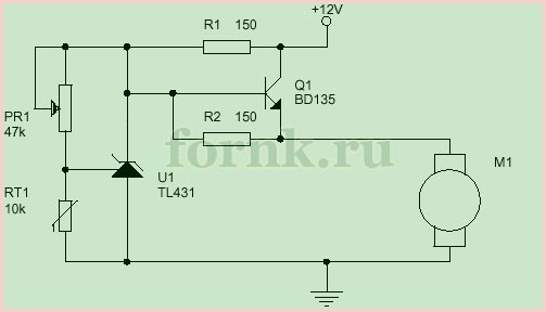 Регулятор оборотов вентилятора с термистором - схема