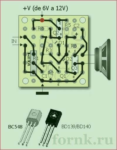 усилитель на трех транзисторах - плата