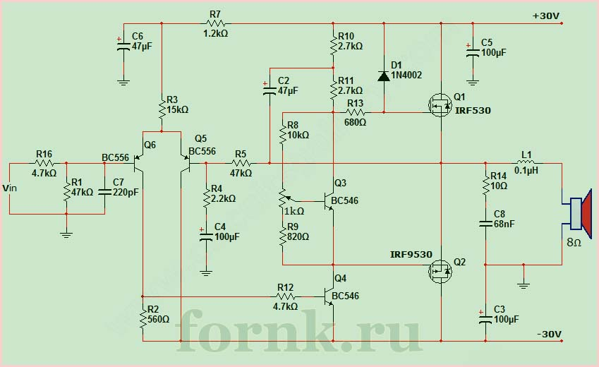 50 watt power MOSFET amplifier circuit diagram.