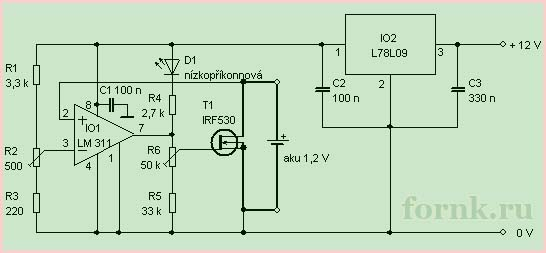 Разрядник для NiCd и NiMH аккумуляторов схема