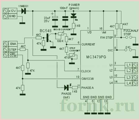 Блок управление биполярным шаговым двигателем