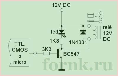 подключить реле к микроконтроллеру на одном транзисторе