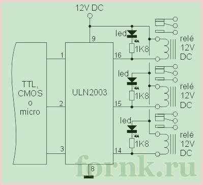 подключение на микросхеме ULN2003