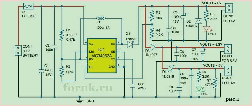 DC/DC повышающий преобразователь на базе MC34063