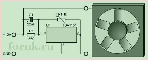 Регулятор скорости вентилятора на TDA1151 - Схема