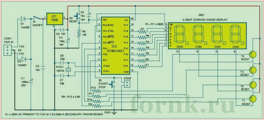 Схема и работа электронного секундомера
