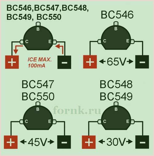 Транзистор BC548  Характеристики, распиновка, datasheet | Уголок