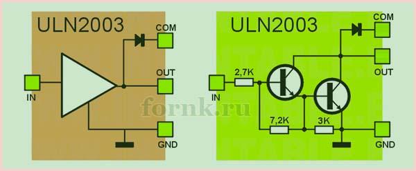 схема одного канала ULN2003