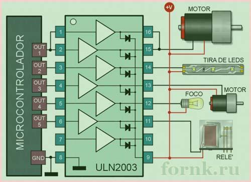 Примеры подключения нагрузки к ULN2003