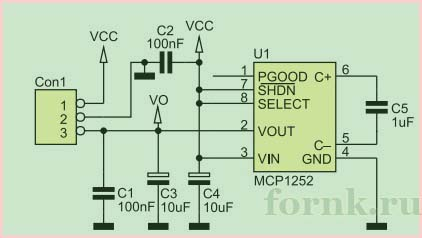 DC/DC преобразователь MCP1252 - схема