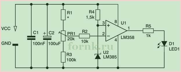 Простой индикатор разряда аккумулятора - схема