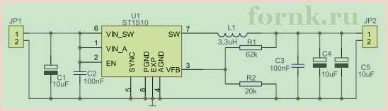 DC/DC преобразователь ST1S10 - схема