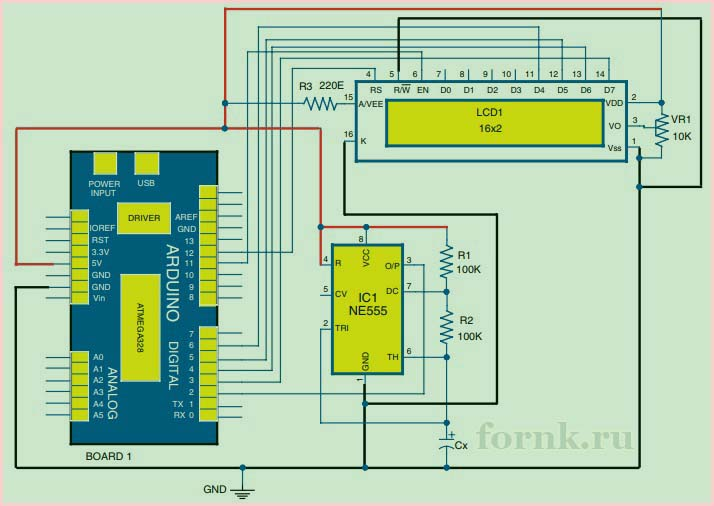 Цифровой измеритель емкости - схема 1