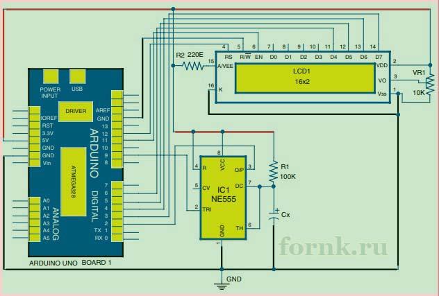 Цифровой измеритель емкости - схема 2