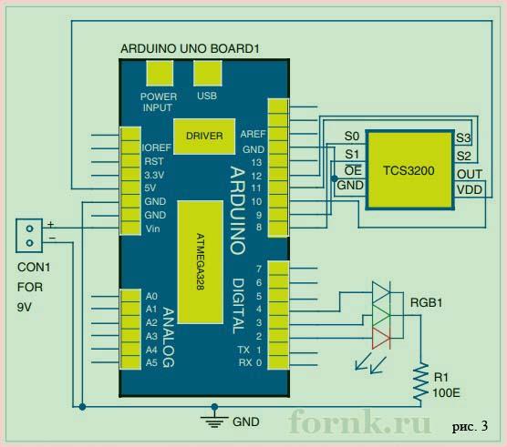 схема работа Arduino Uno R3 и датчика цвета TCS3200