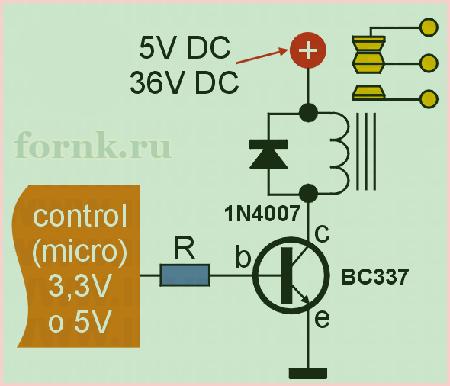 Схема управления реле с BC337