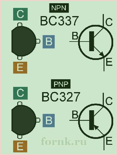 Распиновка и обозначение на схеме BC327 и BC337