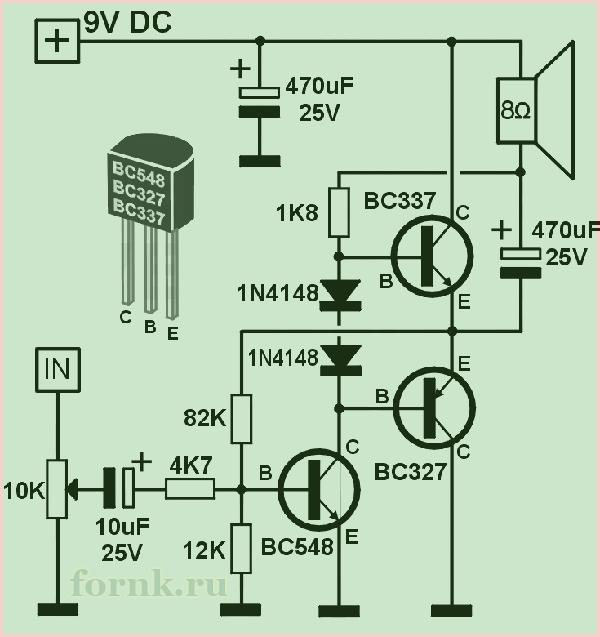 Транзисторный усилитель с выходными транзисторами BC327 и BC337