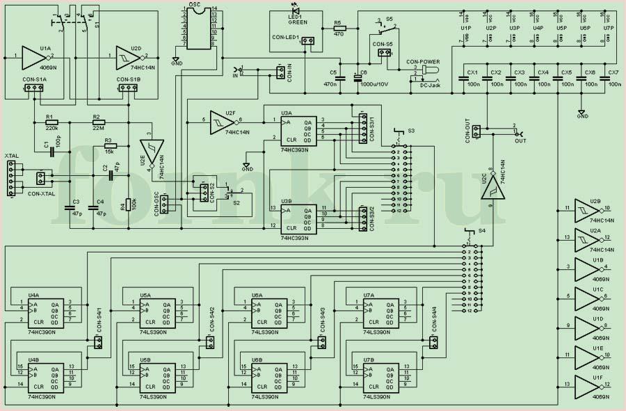 Тестер кварцевых резонаторов и генератор сигналов. Схема