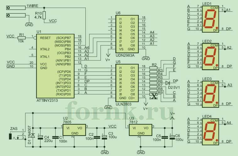 Электрическая схема термометра на больших 7-сегментных индикаторах