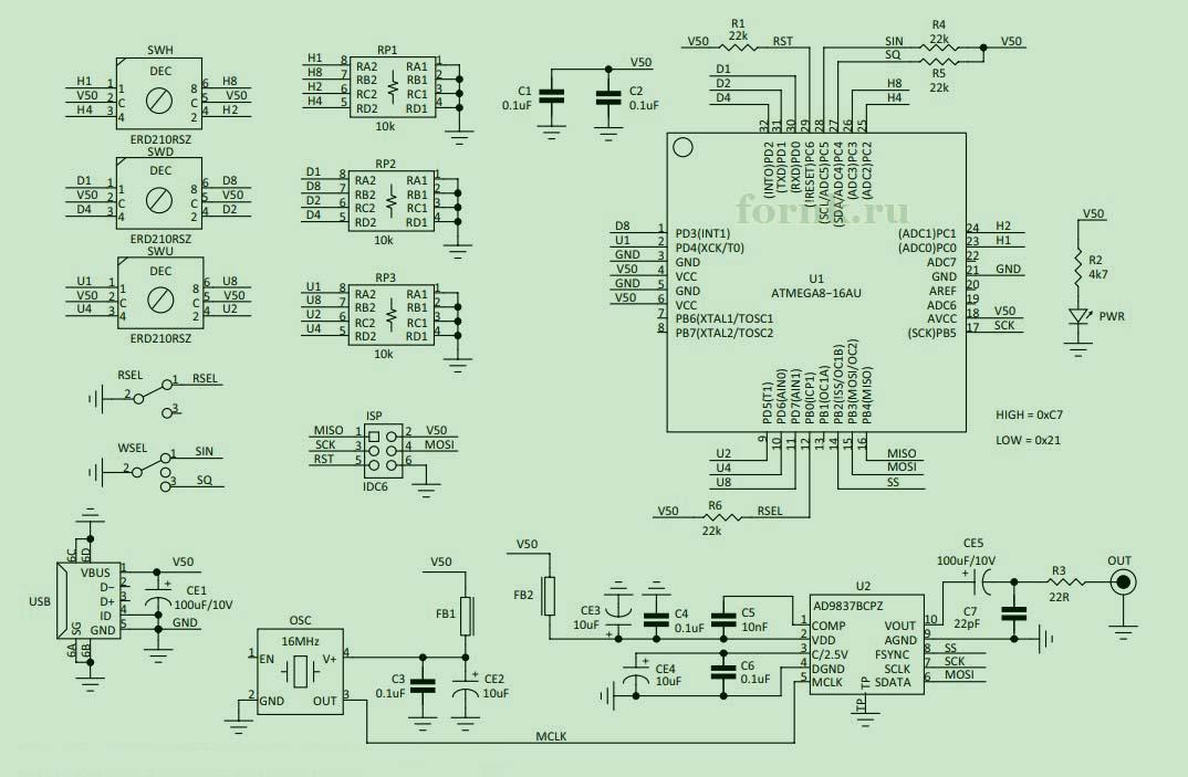 Карманный функциональный генератор на Atmega8
