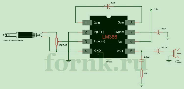 Принципиальная схема усилителя звука LM386