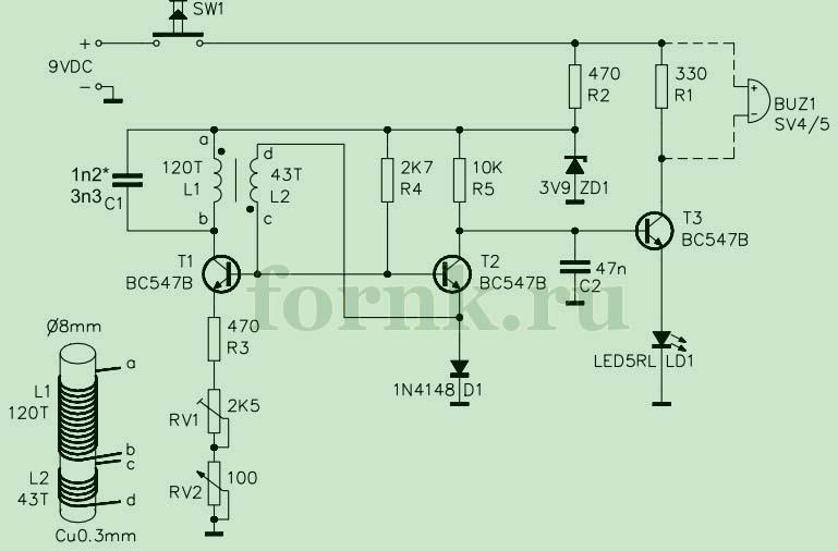 Схема простого металлодетектора