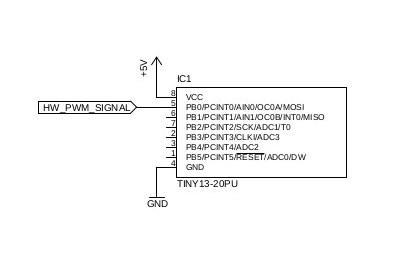 Принципиальная электрическая схема ШИМ на Attiny13
