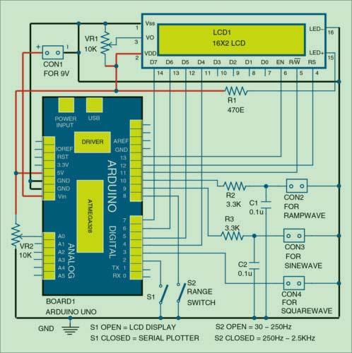Функциональный генератор на Ардуино - схема