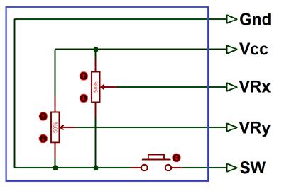 Принципиальная схема аналогового джойстика