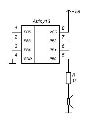 ATtiny13 – двухтональная сирена