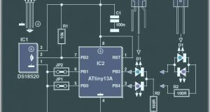 Миниатюрный термометр на Attiny13 и двух светодиодах. Схема и описание