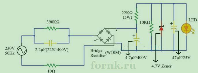 Схема простого светодиодного драйвера от 230 В. Описание и расчет