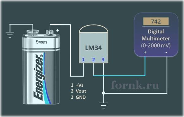 Тестирование аналоговых датчиков температуры Схема