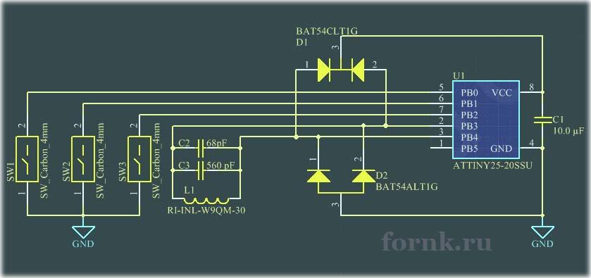 Имитатор RFID-метки EM4102 на Attiny25