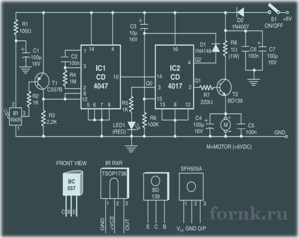 Инфракрасный контроллер двигателя игрушечного автомобиля