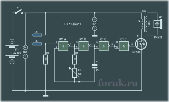 Простой детектор уровня воды на CD4011. Схема