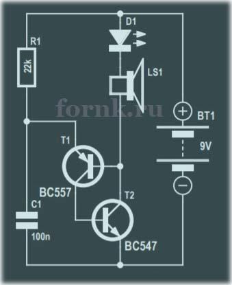 Светодиодная мини мигалка на 2 транзисторах - 2