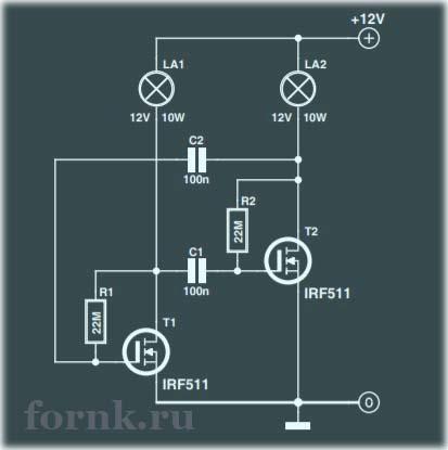 Мигалка для ламп накаливания на полевых транзисторах