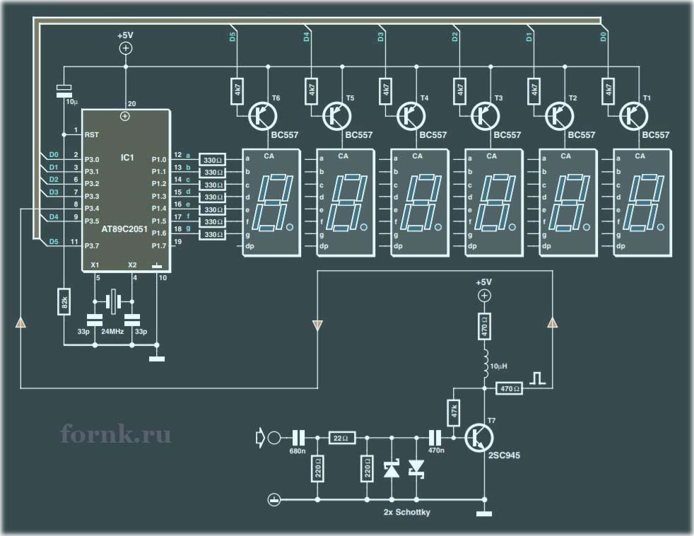 Частотомер 1 МГц с использованием микроконтроллера AT89C2051