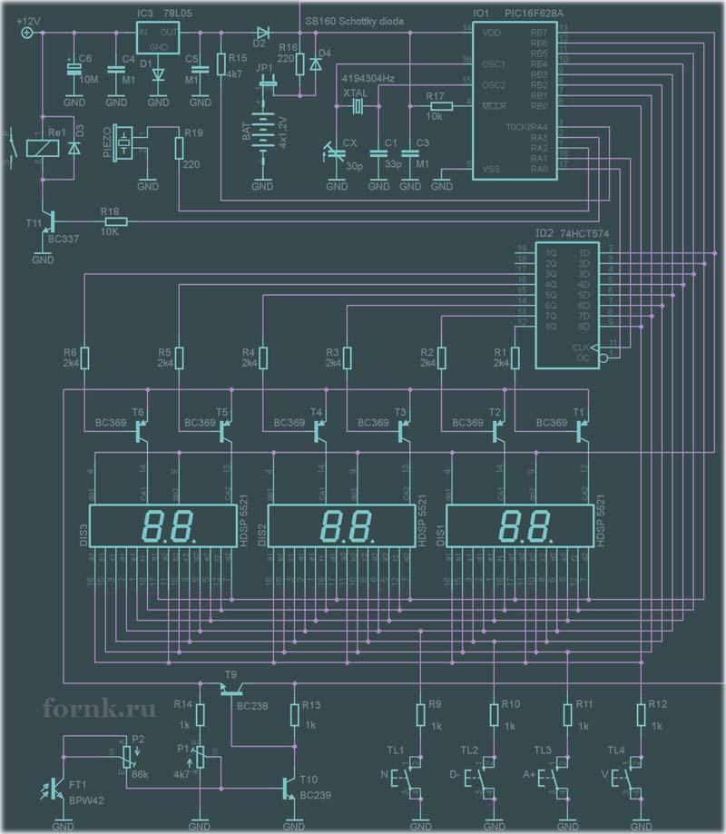 Часы-будильник на PIC16F628A с управлением нагрузкой на 230В
