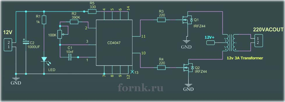 Простой инвертор 12В/220В на CD4047 - схема