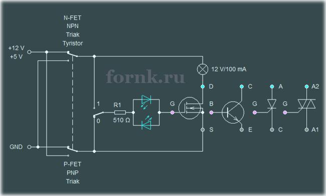 Простой тестер транзисторов, тиристоров и симисторов. Схема