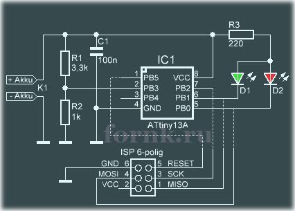 Тестер аккумуляторов для одиночных LiPo элементов - схема