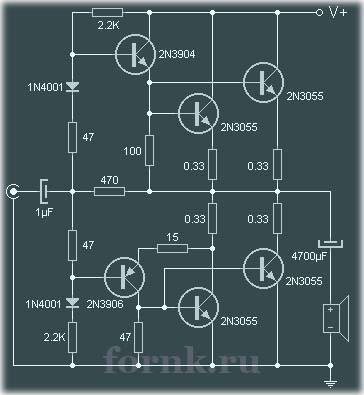 90 Вт усилитель на транзисторах. Схема