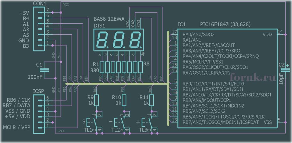 Термостат на микроконтроллере с использованием от 1 до 15 датчиков DS18B20