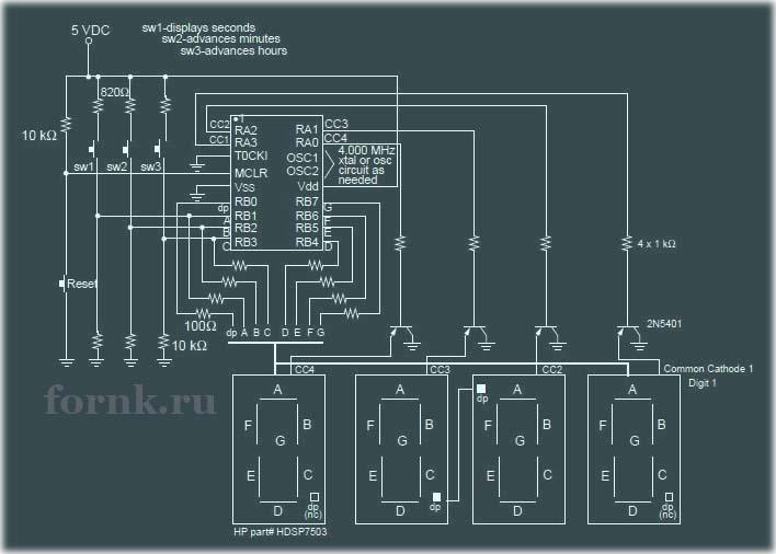 Простые электронные часы на микроконтроллере PIC16C54. Схема и описание