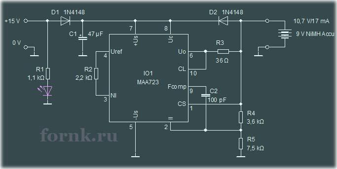 Зарядное устройство для никель-металлгидридных аккумуляторов 9 В